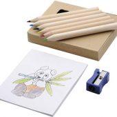 Набор для рисования: 6 цветных карандашей, точилка, раскраска, арт. 000809603