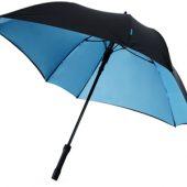 """Зонт трость """"Square"""", полуавтомат 23″, черный/синий, арт. 000728803"""