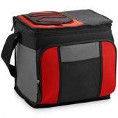 Сумка-холодильник на 24 банки с удобным карманом, красный