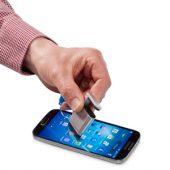 """Подставка-брелок для мобильного телефона """"GoGo""""с губкой для чистки экрана, синий, арт. 001227003"""