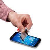 """Подставка-брелок для мобильного телефона """"GoGo""""с губкой для чистки экрана, красный, арт. 001227103"""