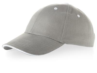 Бейсболка «New Castle» 6-ти панельная, серый/натуральный