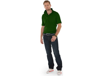 Рубашка поло «Boston» мужская, бутылочный зеленый ( M )