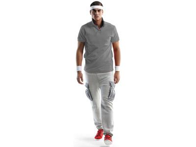 Рубашка поло «Backhand» мужская, серый/белый ( M )