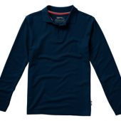 Рубашка поло «Point» мужская с длинным рукавом, темно-синий ( XL )