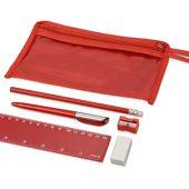 Набор канцелярский: ручка шариковая, карандаш, точилка, ластик, линейка в чехле, арт. 001012503