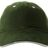 """Бейсболка """"Brent"""" типа «сэндвич», 6 панелей, зеленый армейский/белый, арт. 001684703"""