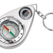 Брелок-компас с термометром, серебристый