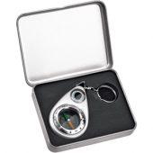 Брелок-компас с термометром, серебристый, арт. 000252303