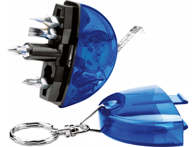 Брелок-рулетка с набором отверток и фонариком, синий, арт. 000054403
