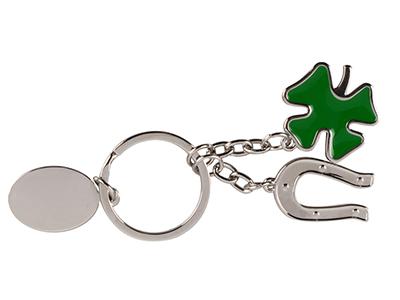 Брелок с шильдом  с подковой и четырехлистным клевером, серебристый/зеленый