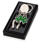 Брелок с шильдом  с подковой и четырехлистным клевером, серебристый/зеленый, арт. 000383703