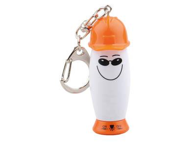 Брелок-фонарик с ручкой в виде человечка в каске, белый/оранжевый, арт. 000528803