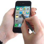 Ручка шариковая со стилусом для емкостного экрана в футляре, черная