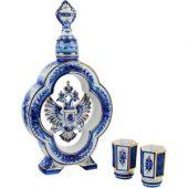 Набор: штоф для водки с двумя стопками «Герб России», арт. 000293003