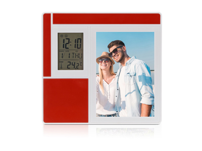 Рамка для фотографии 9х13 см с часами, датой, термометром, арт. 000265003