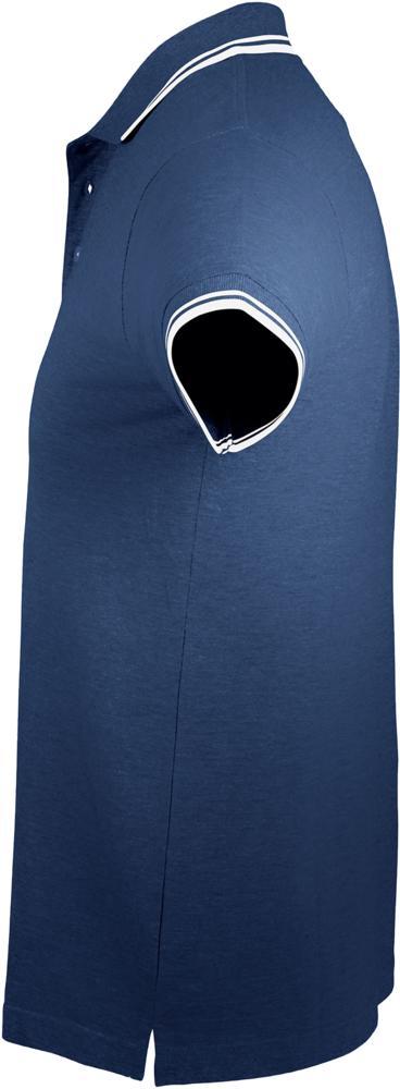 Рубашка поло мужская PASADENA MEN 200 с контрастной отделкой темно-синяя с белым, размер 3XL