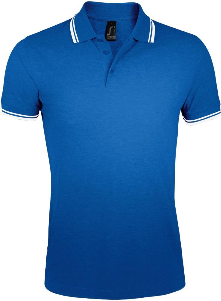 d33457e8e90f8 Рубашка поло мужская PASADENA MEN 200 с контрастной отделкой ярко-синяя с  белым, размер ...