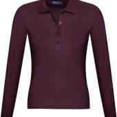 Рубашка поло женская с длинным рукавом PODIUM 210 бордовая, размер S