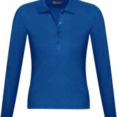 Рубашка поло женская с длинным рукавом PODIUM 210 ярко-синяя, размер S