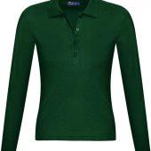 Рубашка поло женская с длинным рукавом PODIUM 210 темно-зеленая, размер S