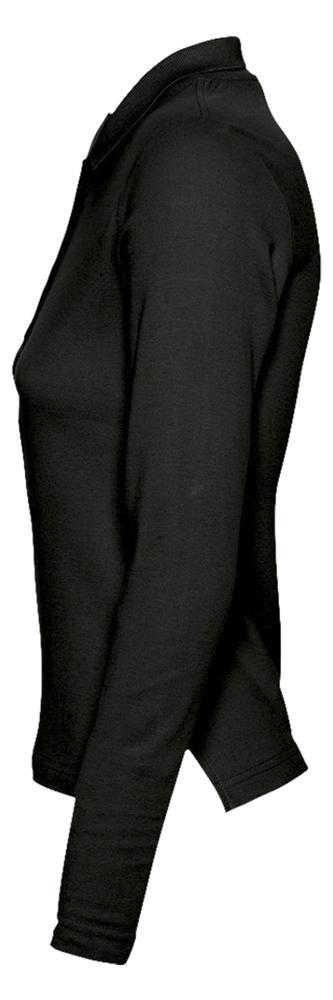 Рубашка поло женская с длинным рукавом PODIUM 210 черная, размер S