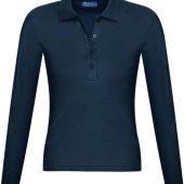 Рубашка поло женская с длинным рукавом PODIUM 210 темно-синяя, размер M
