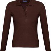 Рубашка поло женская с длинным рукавом PODIUM 210 шоколадно-коричневая, размер M