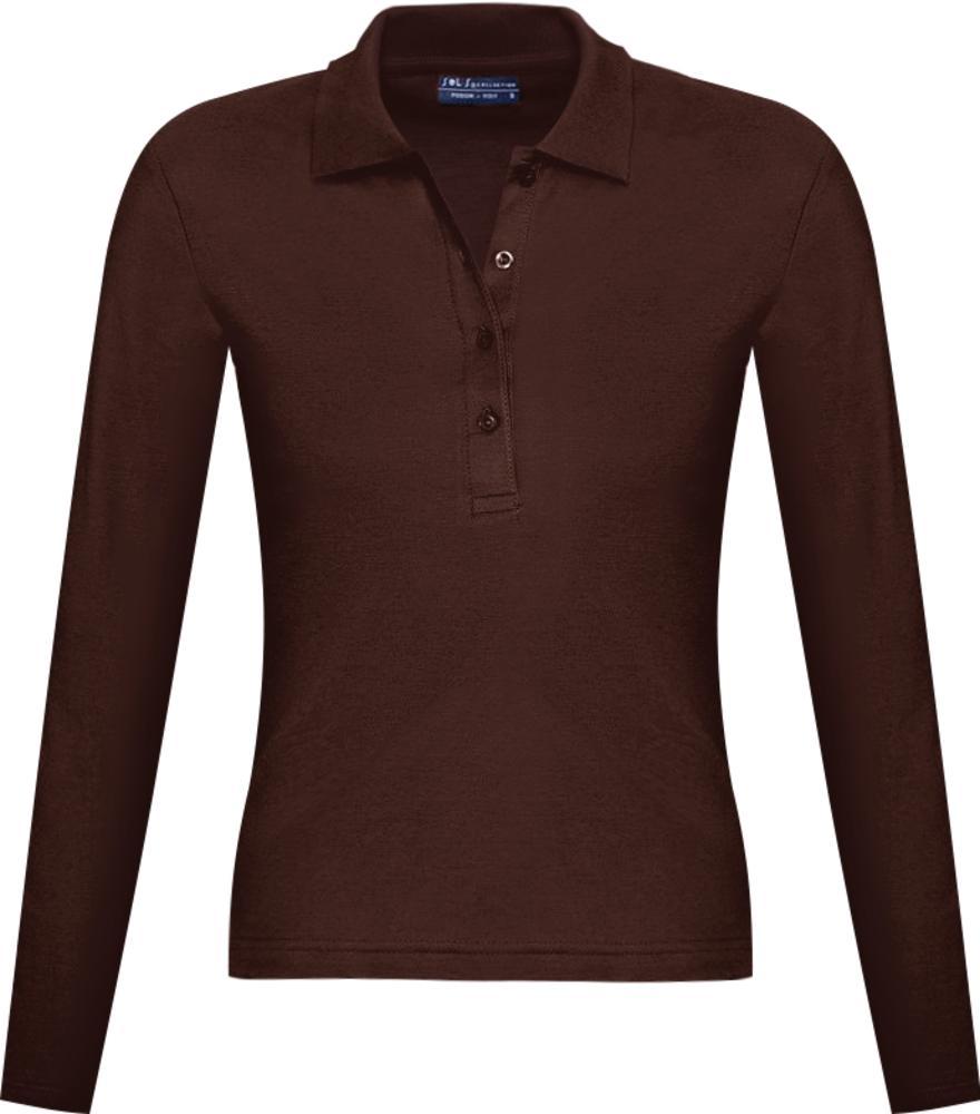 f651cb5305d0b Рубашка поло женская с длинным рукавом PODIUM 210 шоколадно-коричневая,  размер XL ...