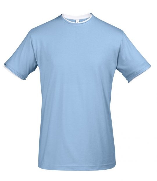 Футболка мужская с контрастной отделкой MADISON 170, голубой/белый, размер XL