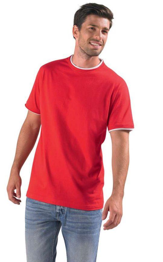Футболка мужская с контрастной отделкой MADISON 170, красный/белый, размер M