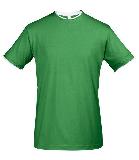 Футболка мужская с контрастной отделкой MADISON 170, насыщенный зеленый/белый, размер M