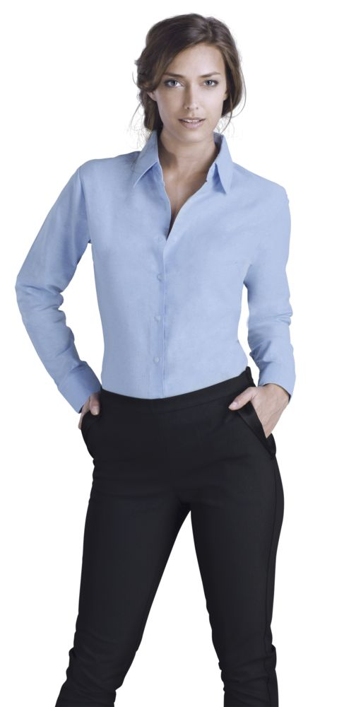 Рубашка женская с длинным рукавом EMBASSY голубая, размер XL