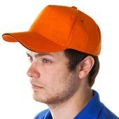 Бейсболка Unit Сlassic, оранжевая с черным кантом