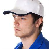 Бейсболка Unit Trendy, белая с темно-синим кантом