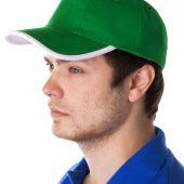 Бейсболка Unit Trendy, зеленая с белым