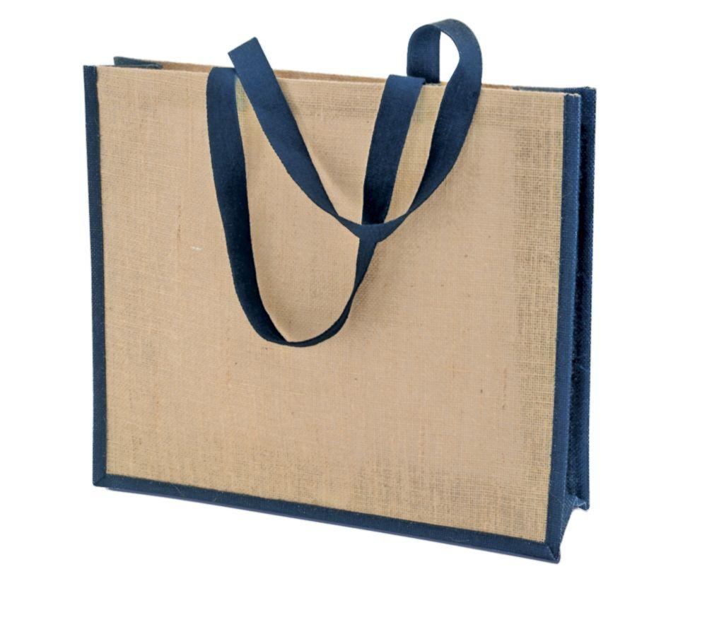 5626c79908f0 Холщовая сумка для покупок Bagari с синей отделкой оптом под логотип