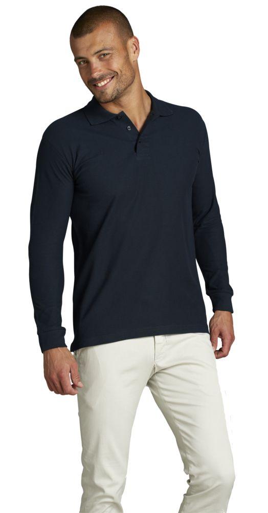 Рубашка поло мужская с длинным рукавом STAR 170, черная, размер XXL