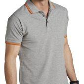 Рубашка поло мужская PASADENA MEN 200 с контрастной отделкой темно-синяя с белым, размер XXL