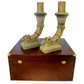 Подарочный набор «Каминный»: 2 подсвечника «Империя», декоративные свечи