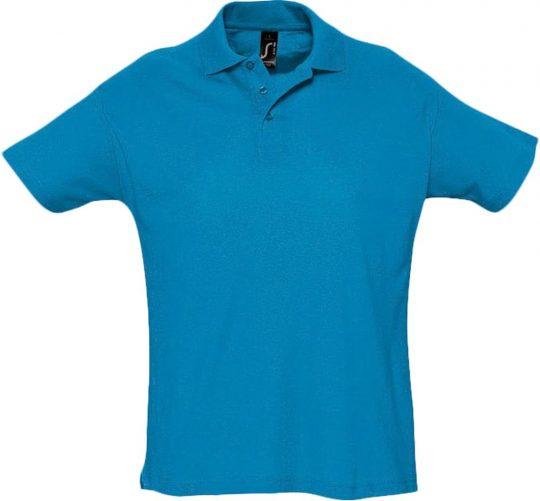 Рубашка поло мужская SUMMER 170 ярко-бирюзовая, размер S
