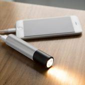 Портативное зарядное устройство с фонариком, 3000 mAh, серебристый, арт. 002836703