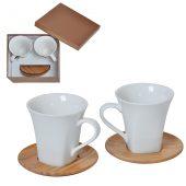 """Набор """"Натали"""": две чайные пары в подарочной упаковке, 19,5х19х9см, 200мл, фарфор, бамбук"""