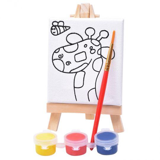 Набор для раскраски «Жираф»:холст,мольберт,кисть, краски 3шт, 7,5х12,5х2 см, дерево, холст