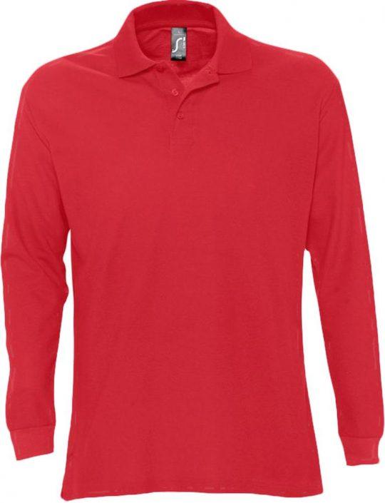 Рубашка поло мужская с длинным рукавом STAR 170 красная, размер S