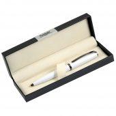 Шариковая ручка, Opera, поворотный мех-м, белый матовый, отделка черный никель. в упак с лого