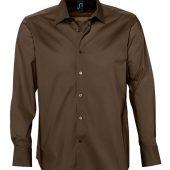 Рубашка мужская с длинным рукавом BRIGHTON темно-коричневая, размер M