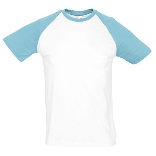Футболка мужская двухцветная FUNKY 150, белая с голубым, размер XL