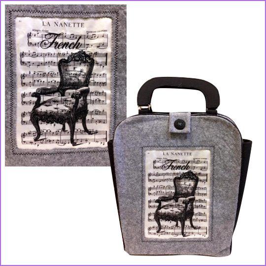Сумка декоративная. Материал: фетр 3 мм, цыет серый, фетр 1 мм цвет белый, печать по ткани.