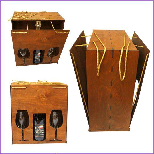 Упаковка для алкоголя и бокалов. Материал: анера 4 мм., шнур нейлоновый, лазерная резка, тонирование.